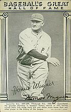 1948 Honus Wagner Autographed Baseball Hall of Fame Exhibit Card. Overall Very Good Condition or Better. Measures 5-3/8 Inches Tall and 3-3/8 Inches Wide. Provenance: Sotheby's 3/22/91 Sale #6145, Lot 448, $2,310.00. Shipping $34.00