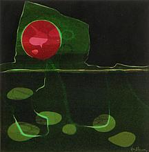 Beverly (Linney) Hallam, American (b 1923) Monotype, Van Son Ink on 2 Ply Strathmore Paper