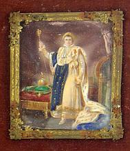 A Small Painting on Porcelain of Napoleon In a Shadowbox Frame. Unsigned. Good Condition. Painting Measures 3-3/4 Inches by 3 Inches, Frame Measures 7-3/4 Inches by 6-1/4 Inches. Shipping $47.00