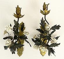 Pair Antique Bronze and Porcelain Sconces. Decorated with Flowers. Unsigned. Some Losses Please Examine Carefully Before Bidding. Measures 12-1/2 Height. Shipping $67.00