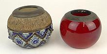 Two (2) Royal Doulton Match Strikers. One Decorated by Maud Bowden with Raised Glazed Decoration, Signed on Bottom with Impressed Royal Doulton Mark as well as Artists Initials, Minor Losses or in Good Condition, Measures 3 Inches Tall, 4 Inches