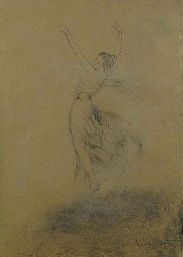 Louis Icart French (1888-1950) Charcoal Heighted With Pastel