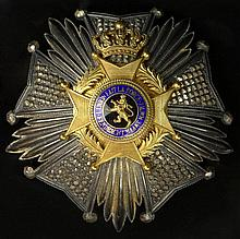 Belgium Order of Leopold II Grand Cross Star in Silver, Gilt and Enamel. The order is awarded for meritorious service to the Sovereign of Belgium, and as a token of his personal goodwill. It can be awarded to both Belgians and foreigners. Signed P.