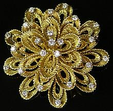 Lady's Vintage Hammerman Brothers 1.25 Carat Round Brilliant Cut Diamond and 18 Karat Yellow Gold Flower Brooch. Diamonds F-G Color, SI1 Clarity. Signed 18K and HB, Numbered 1349. Good to Very Good Condition. Measures 1-3/4 Inches Diameter. Approx.