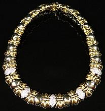 Italian 18 Karat Yellow and White Gold and 6 Carat Round Diamond Lady's Necklace. Diamonds Weigh 6.00 Carats, F-G Color, VS1 Clarity. Signed 18K, 750, Italy and Italian Hallmark. Very Good Condition. Measures 15-5/8 Inches Long and 3/4 Inches Wide.