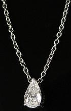 1.00 Carat Pear Shape Solitaire Diamond Pendant Mounted in Platinum with Platinum Chain. Diamond G-H Color, VS1 Clarity. Signed PT950, Made in Italy with Maker's Mark. Very Good Condition. Chain Measures 17-1/2 Inches. Weighs 4.15 Pennyweights.