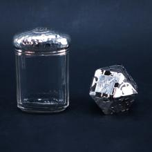 Two Silver And Glass Items. Includes English silver lidded jar, signed with English hallmarks, Lond