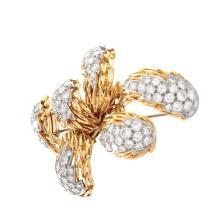 Lot 8: Vintage Tiffany Diamond and 18K Brooch