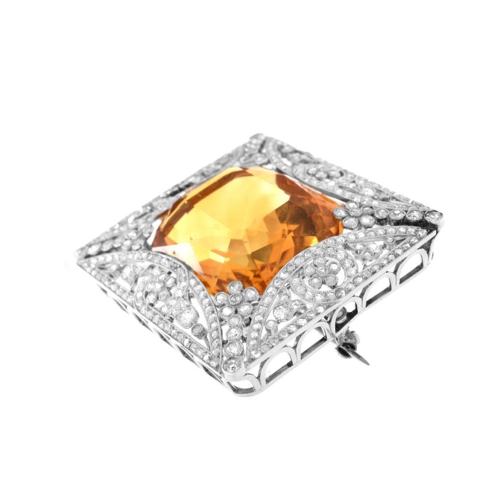 Lot 10: Antique Cartier Tourmaline and Diamond Brooch