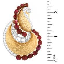 Lot 14: Vintage Mauboussin Diamond and Ruby Brooch