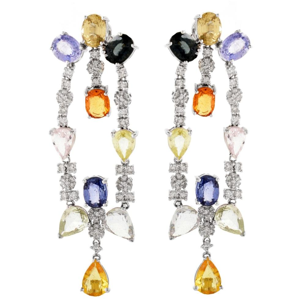 Diamond and Multi Color Stone Chandelier Earrings