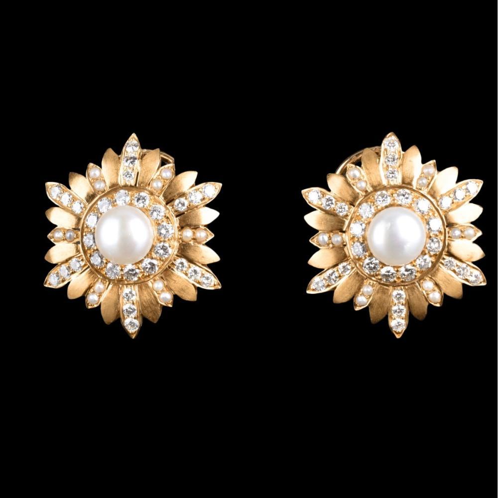 2.80ct TW Diamond, Pearl and 18K Earrings