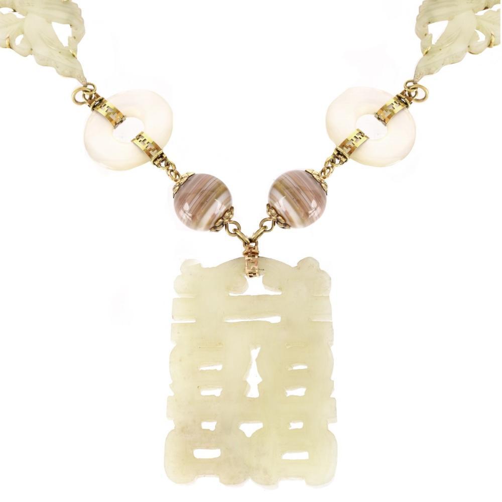 Vintage Jade and Hardstone Necklace