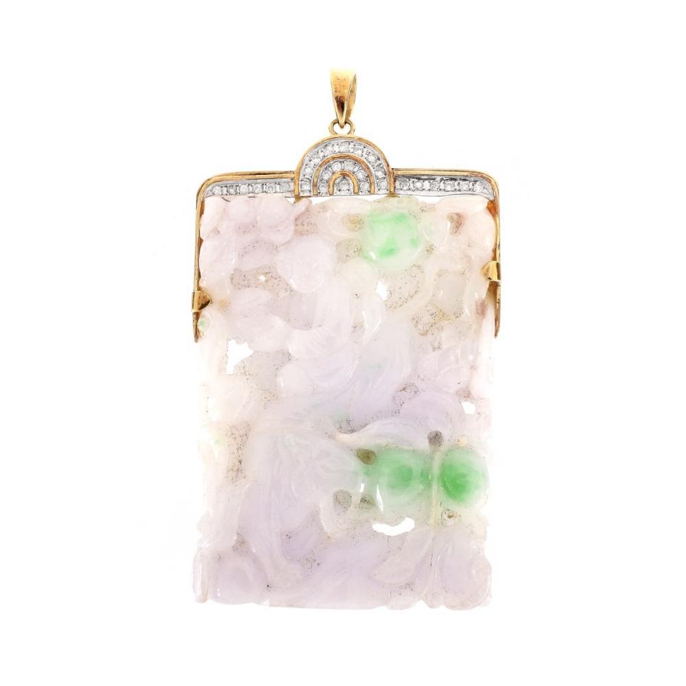 Jade, Diamond and 14K Pendant