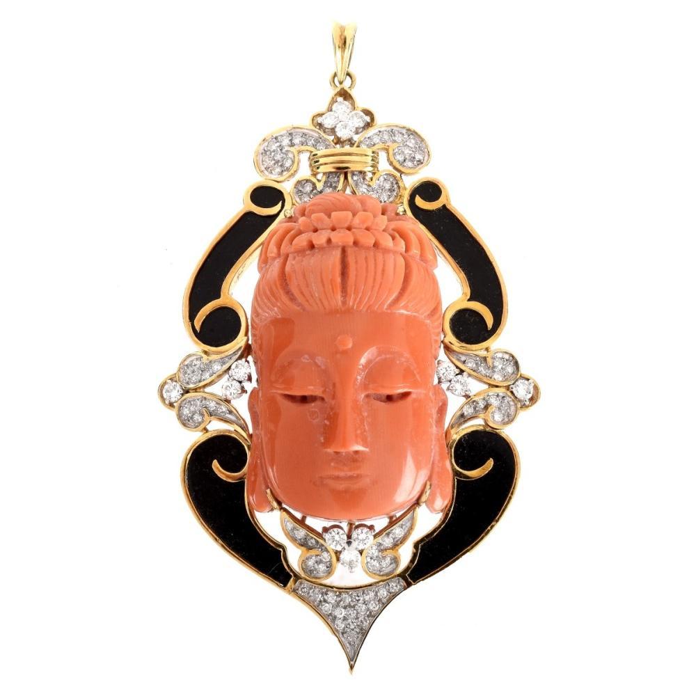 Vintage Coral, Onyx, Diamond and 14K Pendant