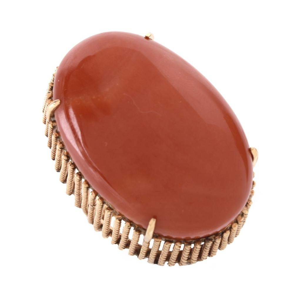 Red Coral and 14K Ring