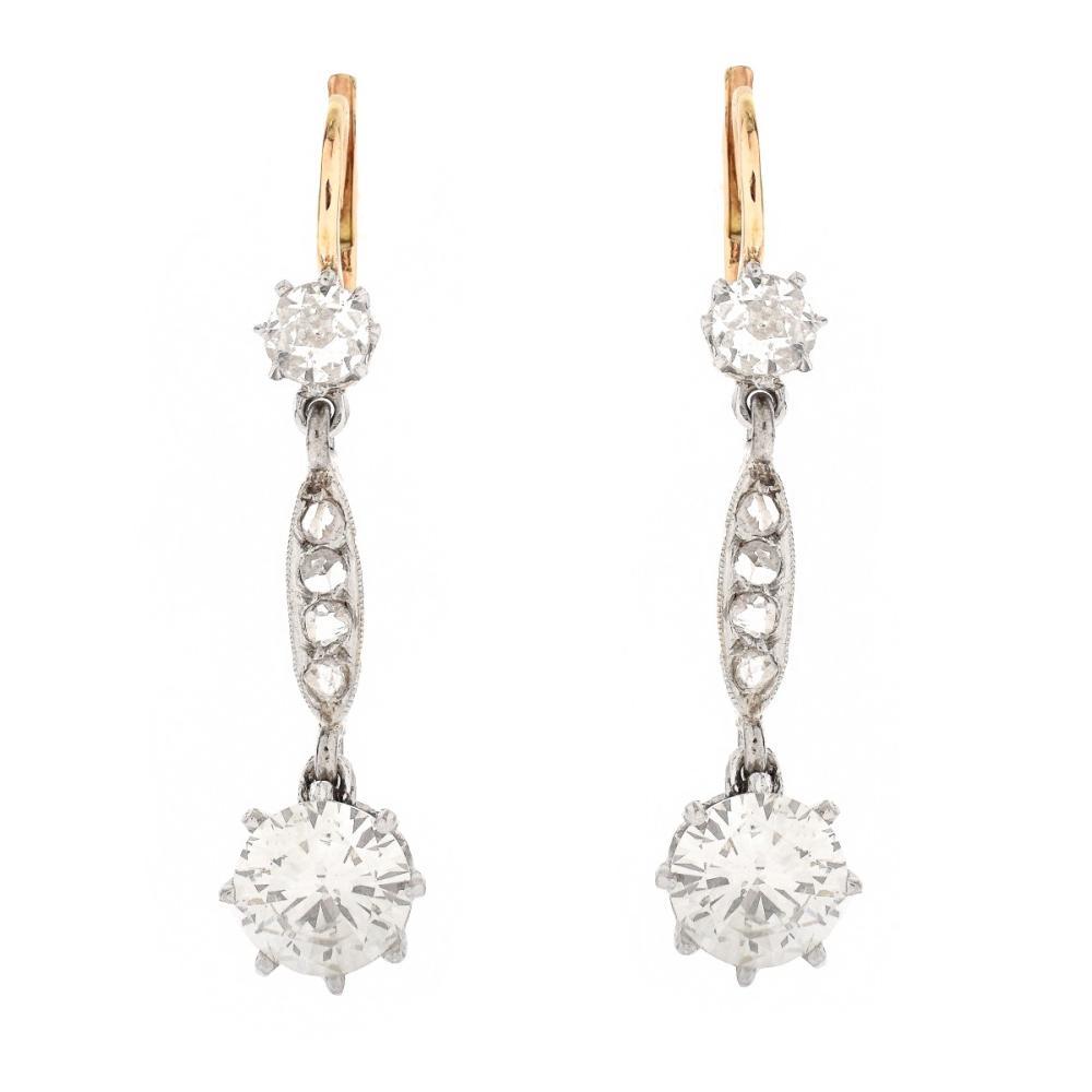 Antique 2.70ct TW Diamond Earrings