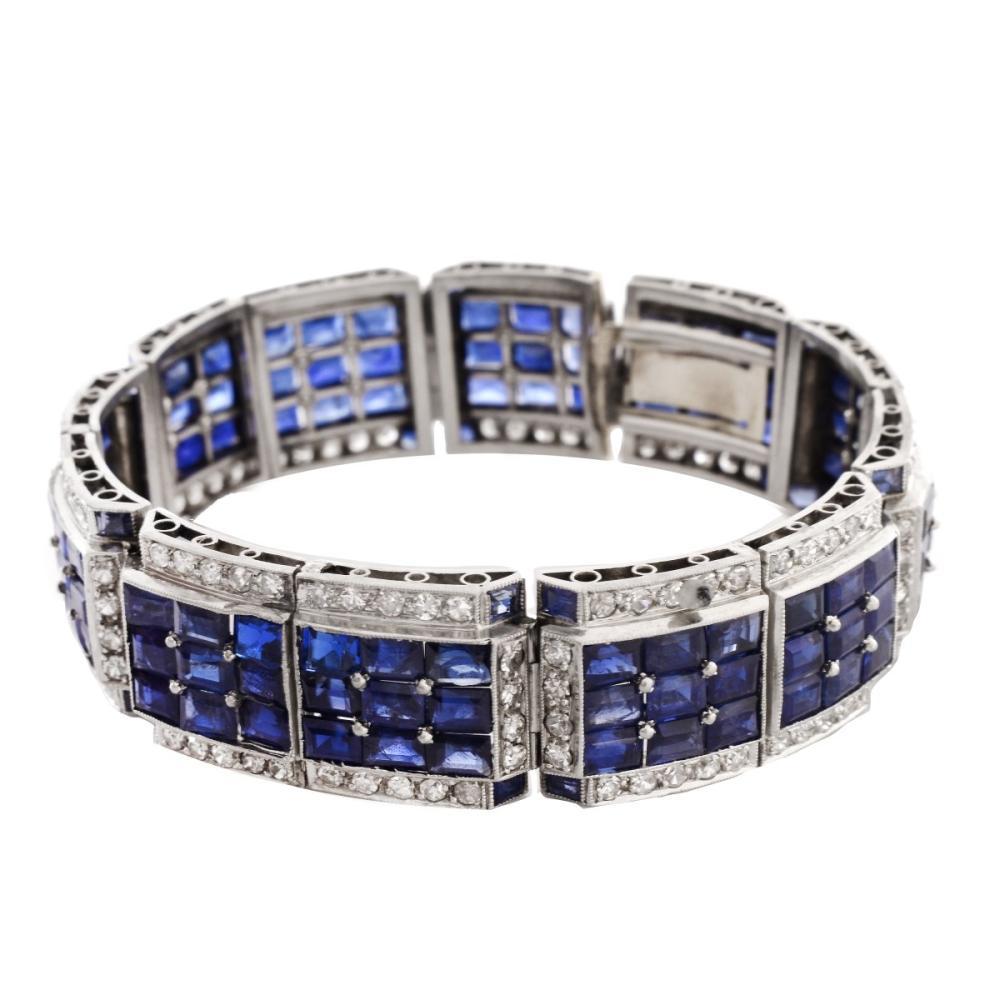 Art Deco Sapphire, Diamond and Platinum Bracelet