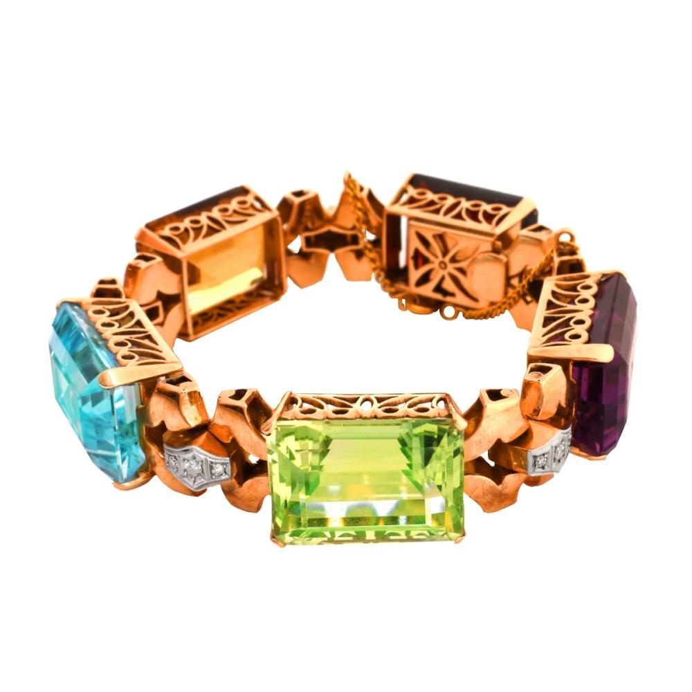 Gemstone and 14K Bracelet