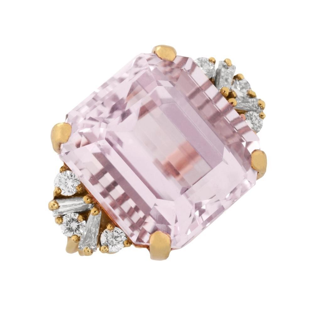 Kunzite, Diamond and 18K Ring