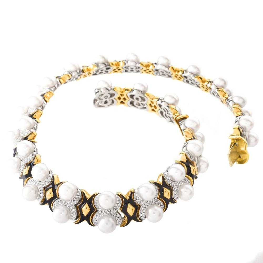 Diamond, Pearl, Enamel and 18K Necklace