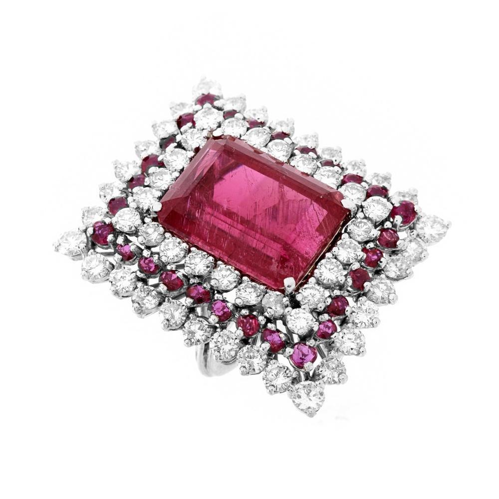 Rubelite, Diamond and 14K Ring