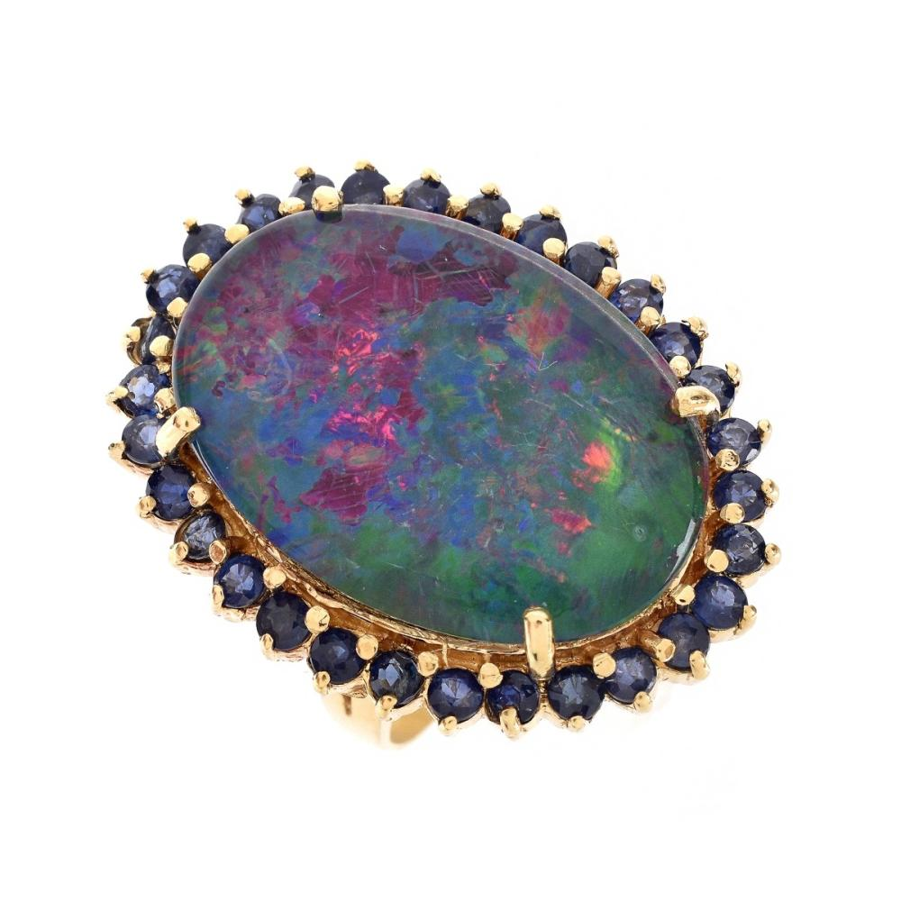 Black Opal, Sapphire and 18K Ring