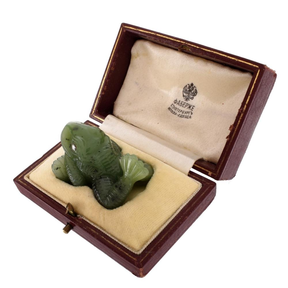 Russian Faberge Jade Frog