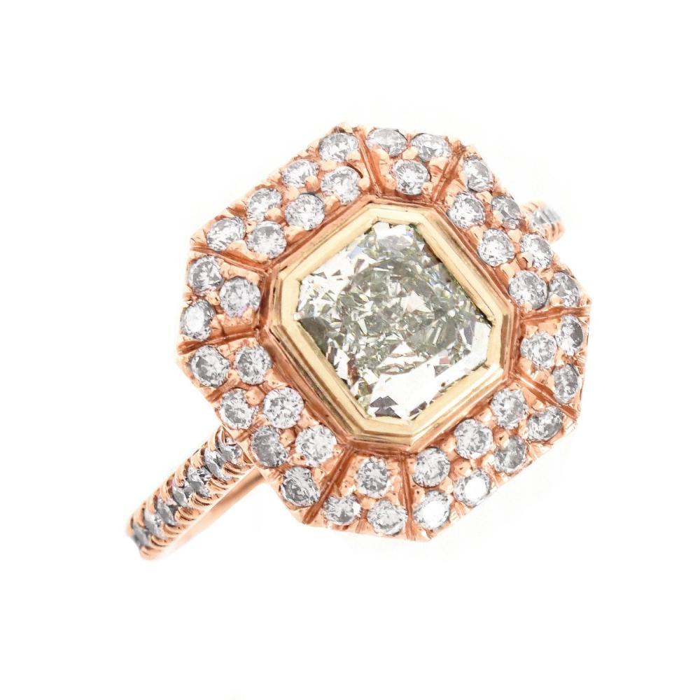 GIA 1.01 Carat Fancy Green Diamond Ring