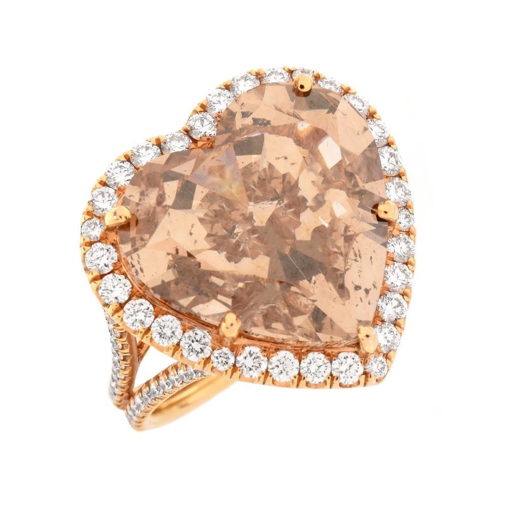 GIA 8.04 Carat Heart Shape Fancy Diamond Ring