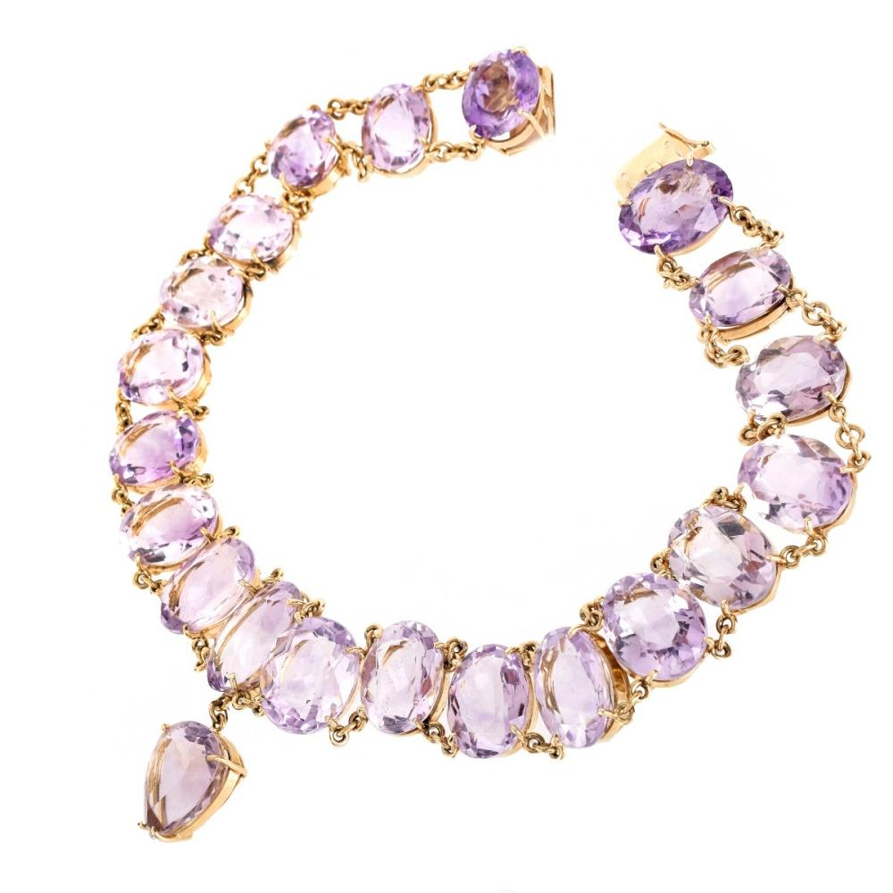 Approx. 300.00ct TW Amethyst and 14K Necklace