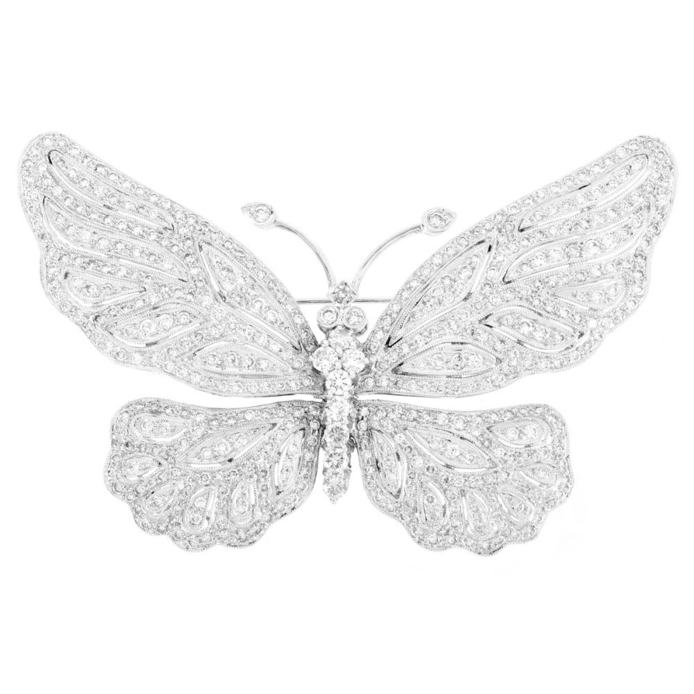 Vintage Diamond and 18K Butterfly Brooch