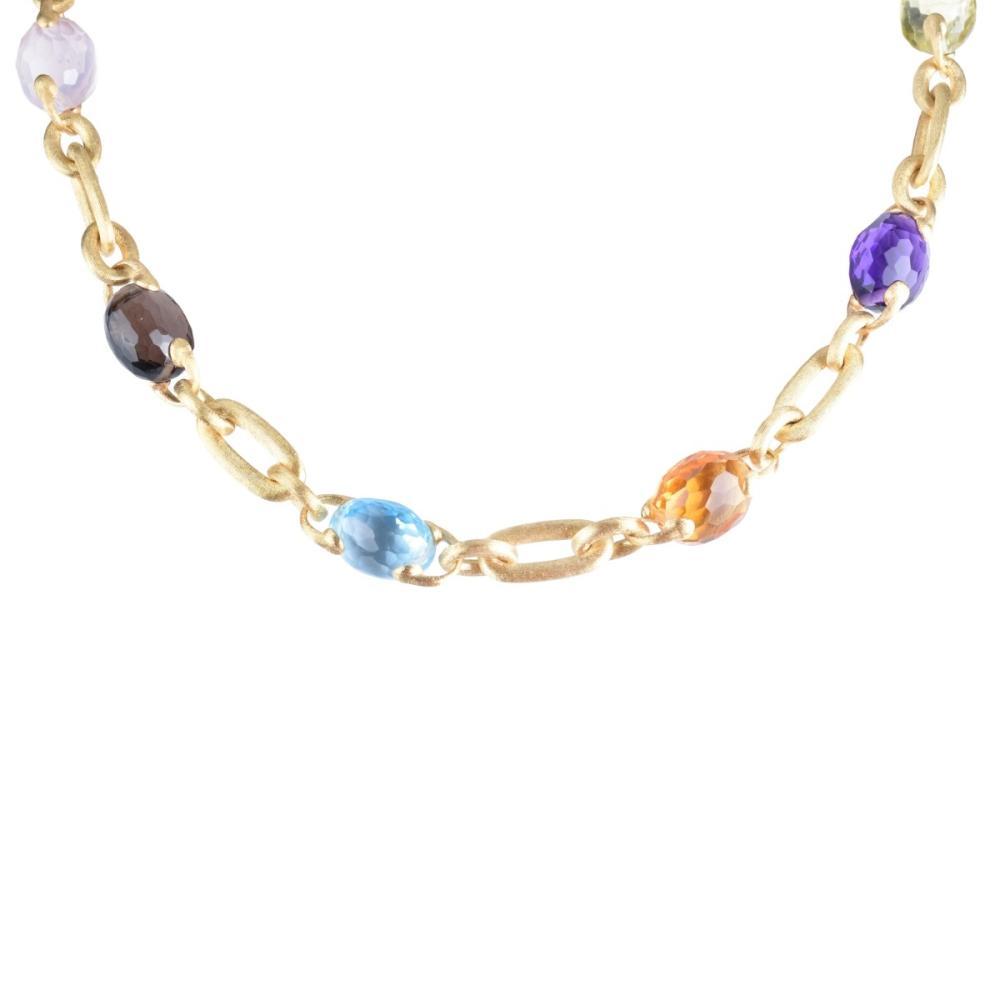 Italian 18K and Gemstone Necklace