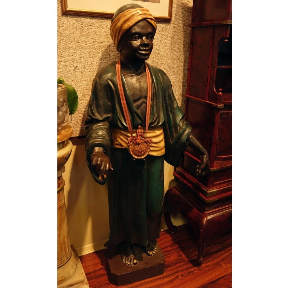 Life Size Polychrome Wood Carved Blackamoor Figure