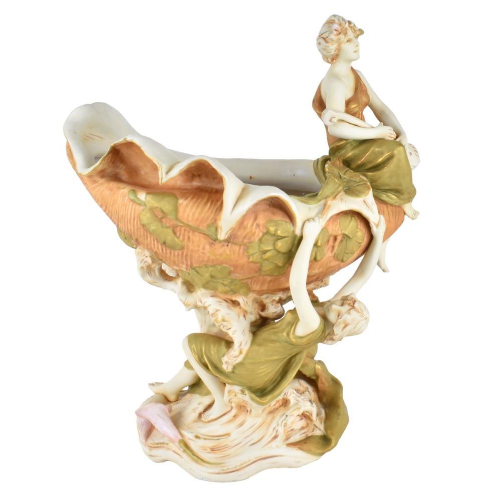Large Royal Dux Porcelain Figural Centerpiece