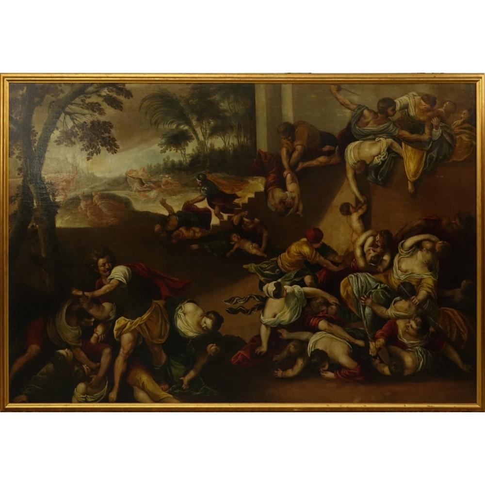 17th C. Old Master O/C Massacre Of The Innocents