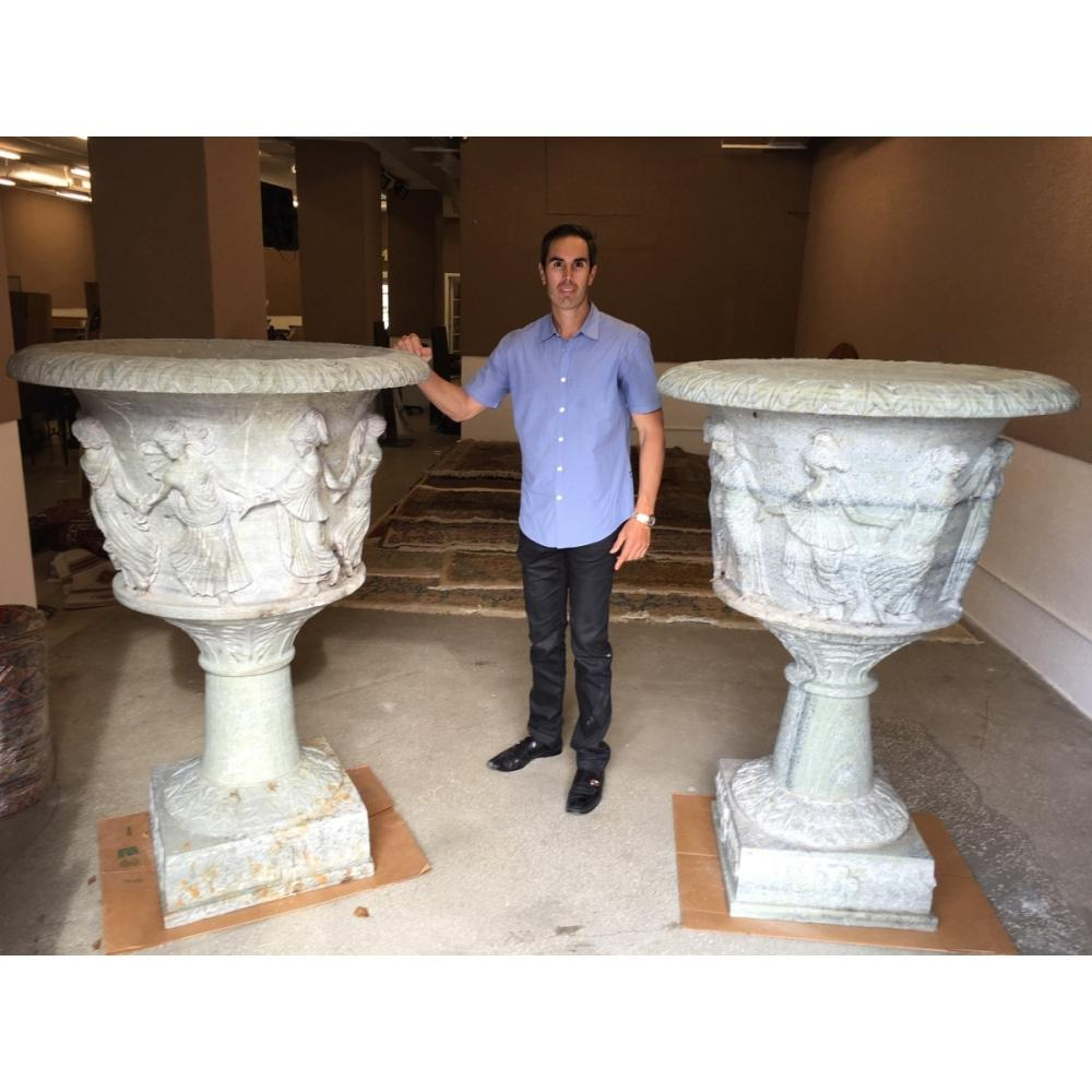 Italian Carved Marble Urns