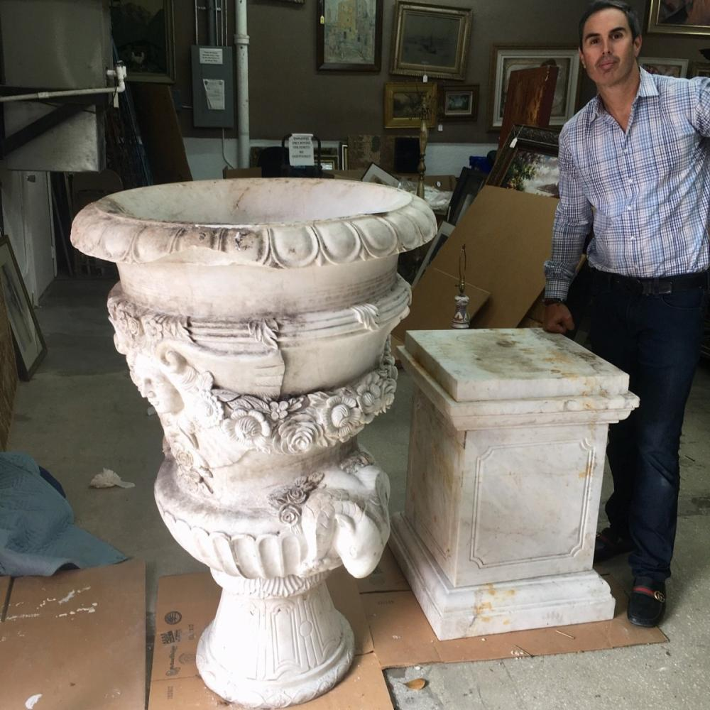 Italian Carved Marble Urn on Pedestal