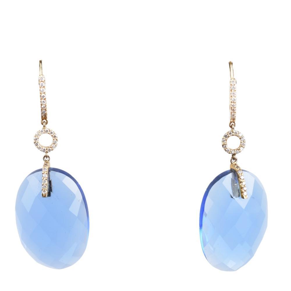 Blue Stone, Diamond and 14K Earrings