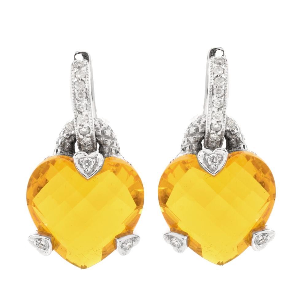 Quartz, Diamond and 14K Earrings