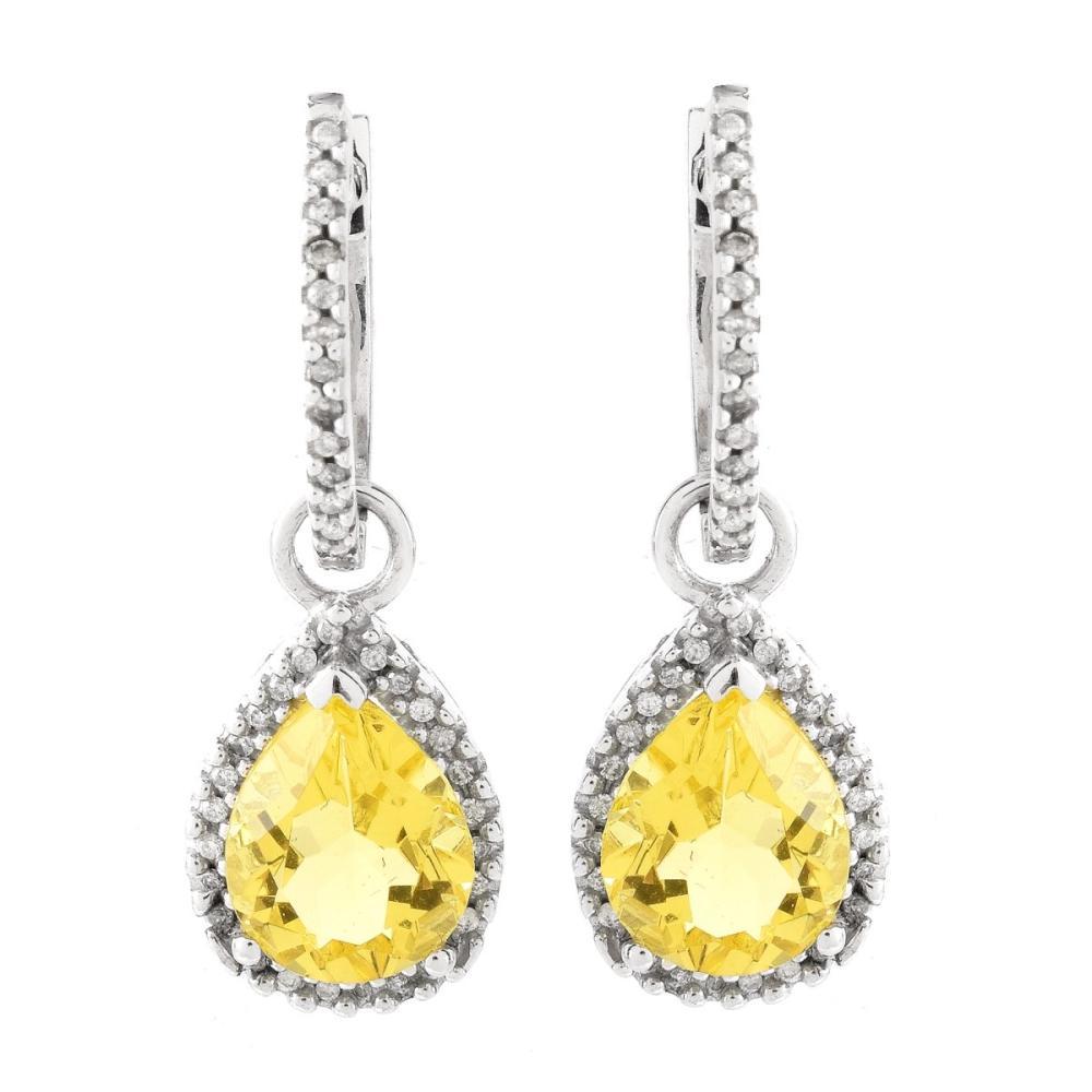Diamond, Yellow Stone and 14K Earrings