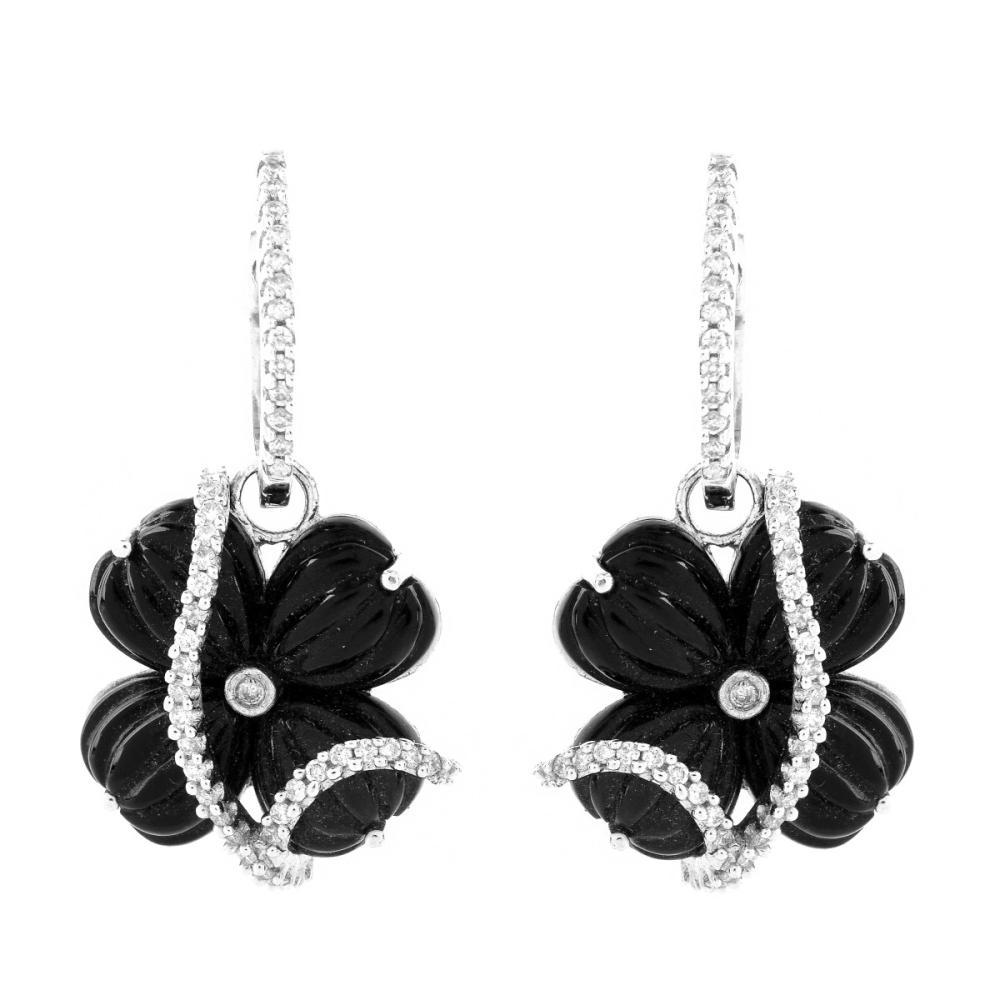 Onyx, Diamond and 18K Earrings