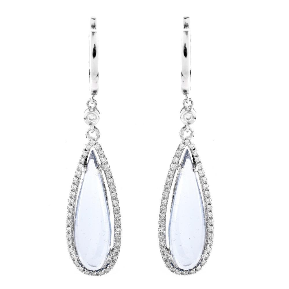 Blue Stone, Diamond and 18K Earrings