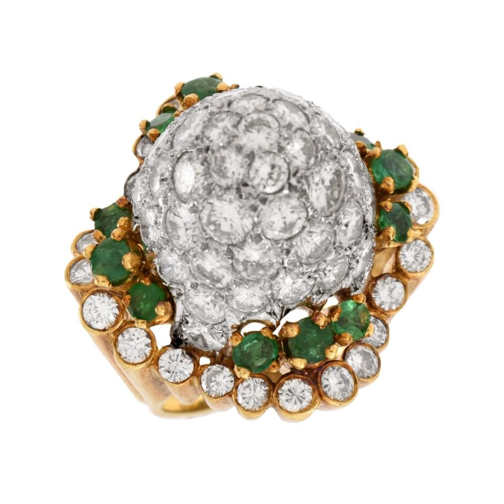 Vintage Diamond, Emerald and 14K Ring