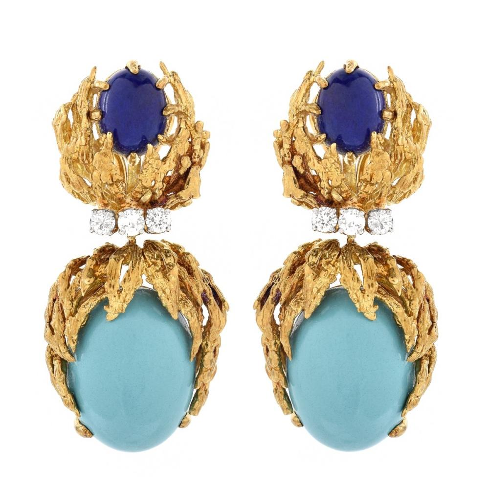 Vintage Turquoise, Lapis, Diamond, 18K Earrings