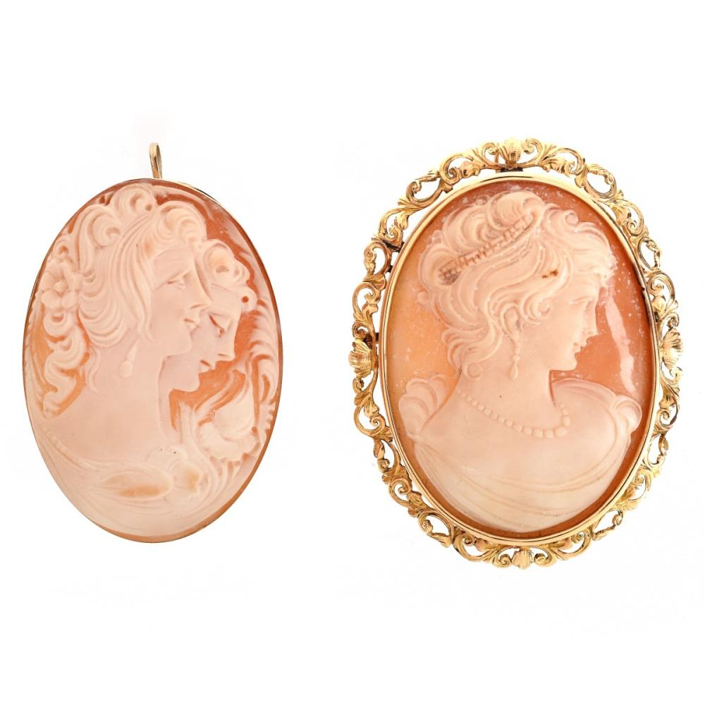 Two Antique Carved Shell Cameo Pendants