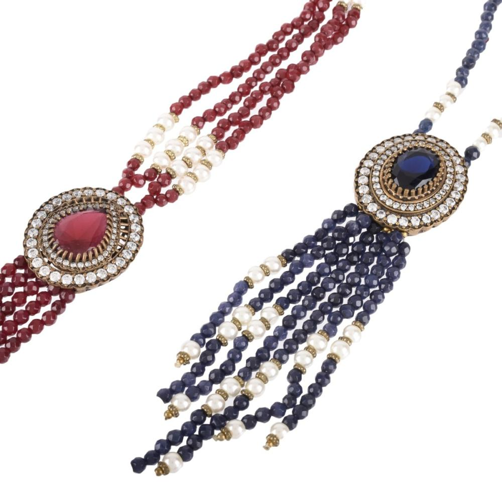 Two Faux Gemstone Tassel Necklaces