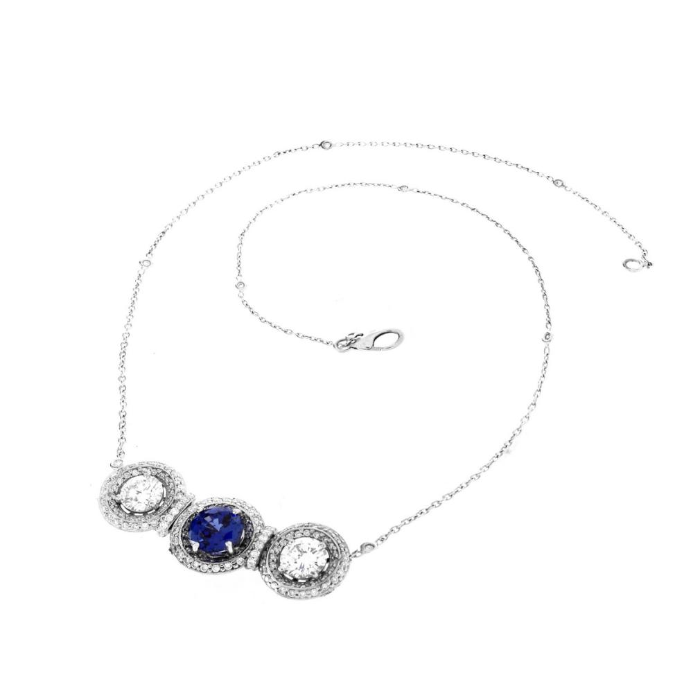 Contemporary Diamond and Sapphire Necklace