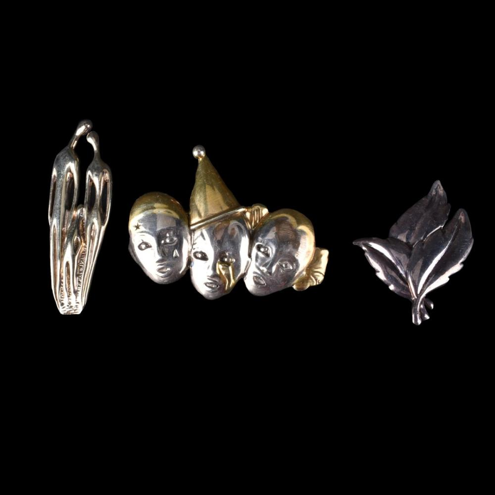 Three Sterling Pin Brooches