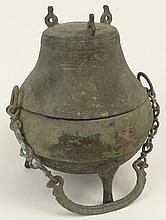 Han Dynasty (206 BC-220 CE) Bronze 3 Footed Lidded Food Storage Vessel with Chain For Hanging. Surface Wear and Oxidation Consistent with Age Otherwise in Good Condition. Measures 10 Inches Tall, 9 Inches Wide. The Gallery Has Been Advised
